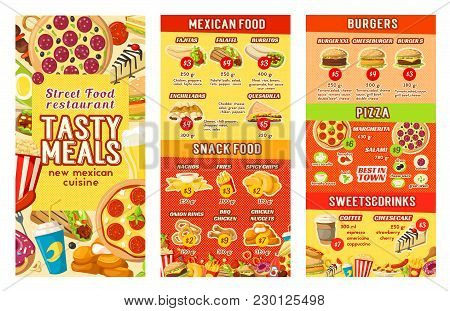 Fast Food Restaurant Menu Design Template For Street Food, Burgers Or Pizza And Mexican Cuisine. Vec