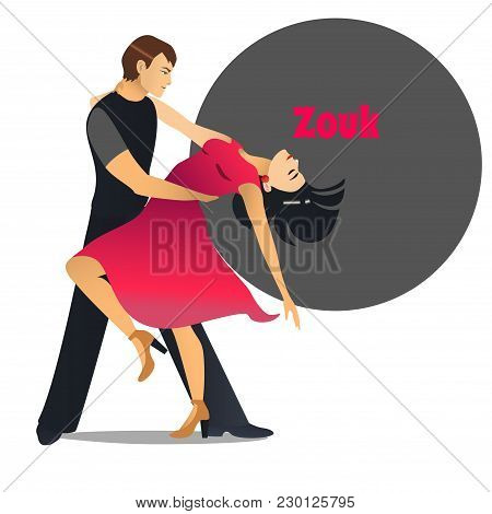 Zouk Dancers. Dancing Couple In Cartoon Style For Fliers Posters Banners Prints Of Dance School And