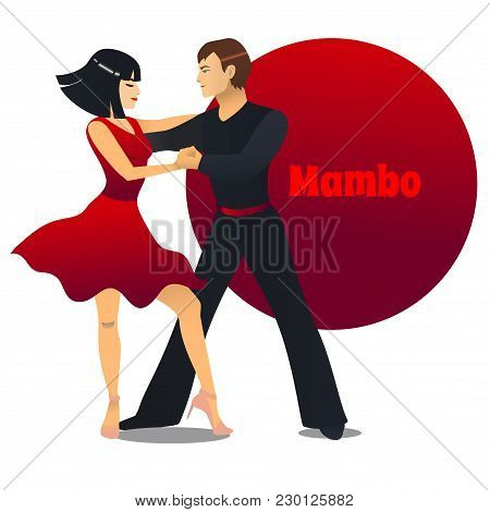 Mambo Dancers. Dancing Couple In Cartoon Style For Fliers Posters Banners Prints Of Dance School And