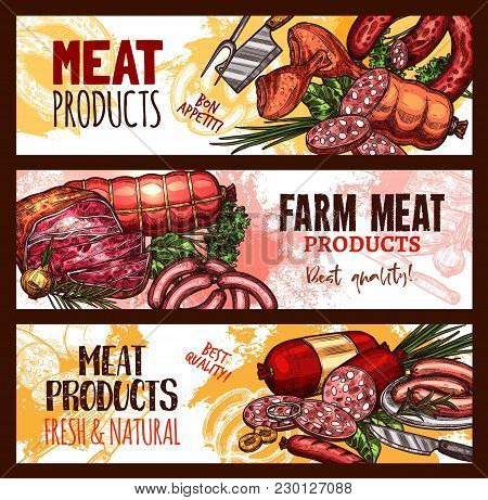 Meat Farm Products Sketch Banners. Vector Design Of Pork Filet Or Beef Steak And Brisket Or Ham Baco