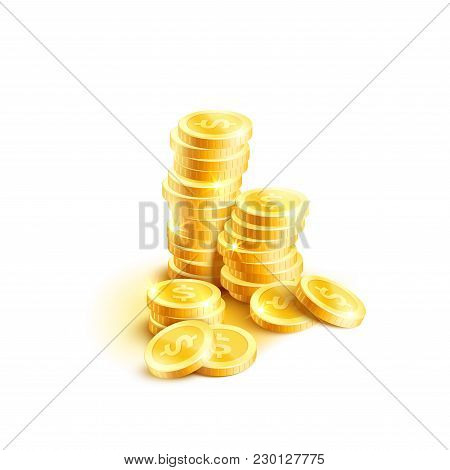 Golden Coins Pile Or Gold Cent Coin Stack Icon For Banking Finance Or Casino Poker Bet Design Templa