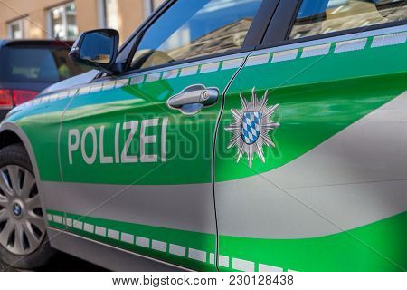 Fuerth / Germany - March 4, 2018: German Bavarian Police Car Stands On Street In A Residential Area.
