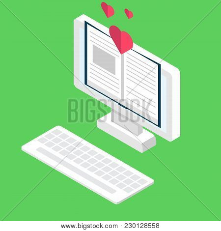 Digital Online Book Store, Library, E-reading Concept.  Vector Illustration In Flat Style.
