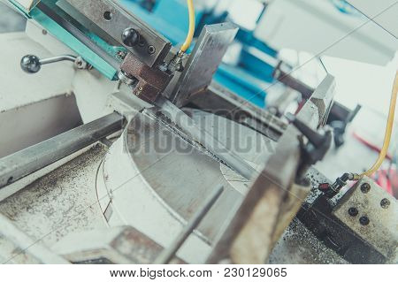 Heavy Duty Metal Cutter Closeup Photo. Manufacturing And Metalworking Industry.