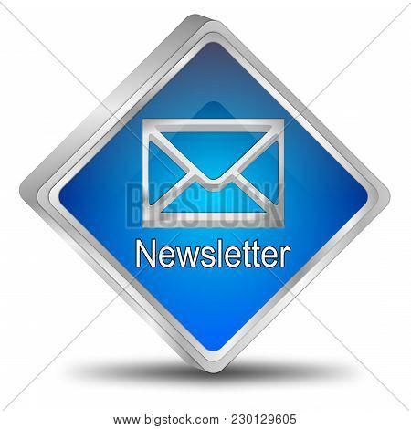 Blue Newsletter Button On White Background - 3d Illustration
