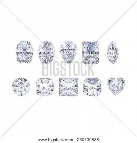 3d Illustration Isolates Ten Different White Gemstones Diamonds On A White Background