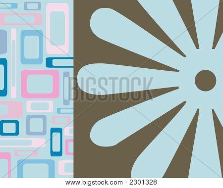 Retro Rectangles And Flower Design
