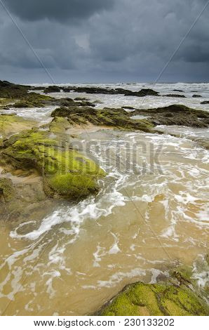 Green Mossy On Rock Hitting By Soft Waves Over Dark And Cloudy Sky.selective Focus Shot