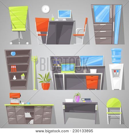 Office Furniture Vector Furnishings Design Of Table Chair Or Armchair In Furnished Interior Of Worke