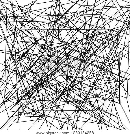 Asymmetrical Texture With Random Chaotic Lines, Abstract Geometric Pattern. Abstract Web, A Tangled