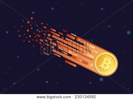 Vector Cartoon Illustration Of Comet With Golden Bitcoin Symbol Flying In Open Galaxy Space. Bitcoin