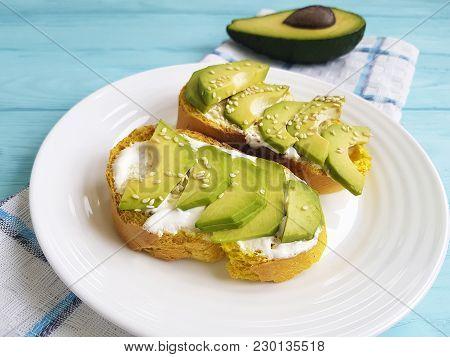 Avocado Sandwich Sesame On A Wooden Fresh