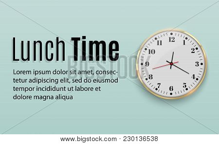 Office Wall Clock. Template Design In Large Size. A Layout For Branding And Advertising Isolation. A