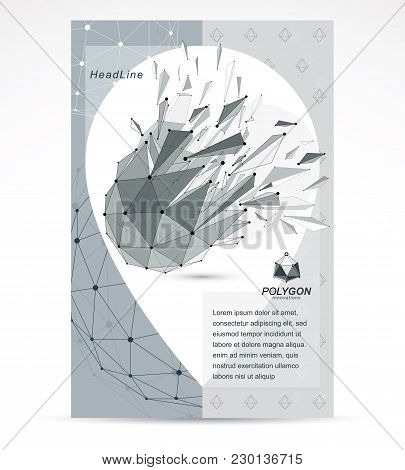 Computer Engineering Business Modern Marketing Presentation Poster. Abstract Vector 3d Geometric Low