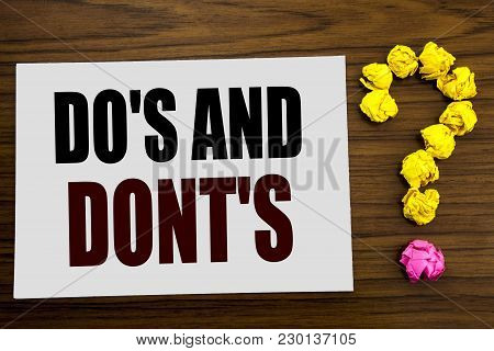 Hand Writing Text Caption Inspiration Showing Do S And Do Not Donts. Business Concept For Guide Allo