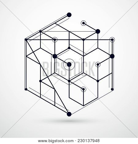 Abstract Vector Geometric Isometric Black And White Background. Mechanical Scheme, Vector Engineerin