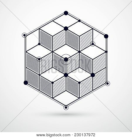 Abstract Geometric Vector Black And White Background With Cubes And Other Elements. Composition Of C