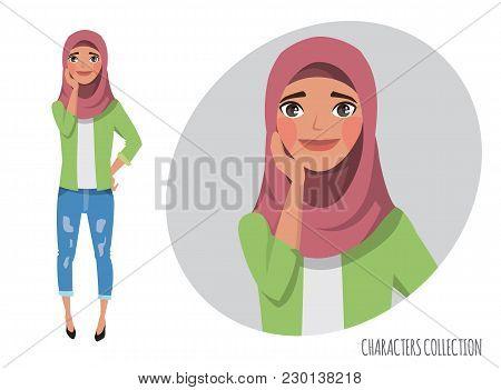 Vector Illustration Of A Cute Shy Arabian Girl. Muslim Woman Wearing Hijab