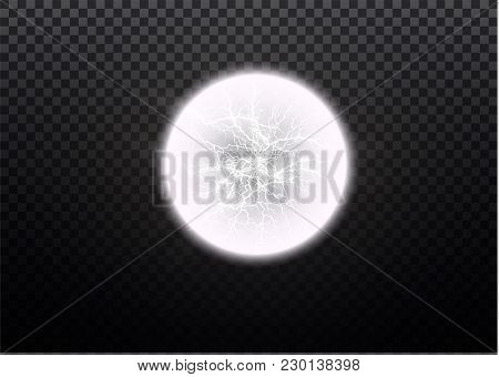 Ball Lightning. Thunder Isolated On Transparent Background. Thunderbolt In Sky. Electricity Blast St