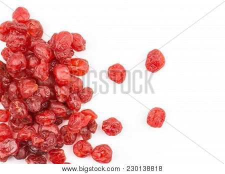 Red Dry Cherries Stack Top View Isolated On White Background Left Side