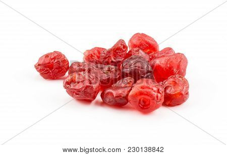 Red Dry Cherries Heap Isolated On White Background