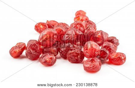 Red Dry Cherries Stack Isolated On White Background
