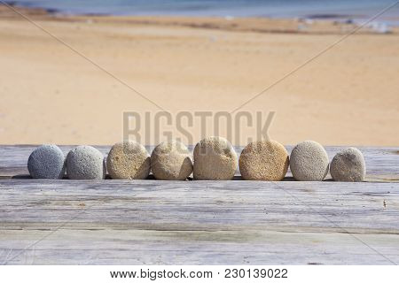 Empty Stone Healing Beach Seaside   Word Text Writing
