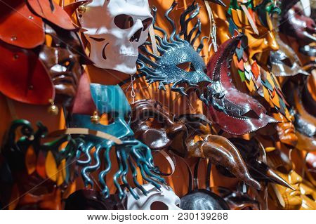 Venetian Masks In Store Display In Venice. Annual Carnival In Venice Is Among The Most Famous In Eur