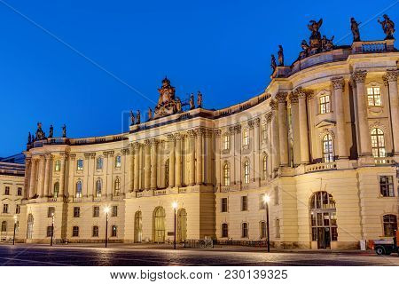Old Historic Building At The Unter Den Linden Boulevard In Berlin At Night