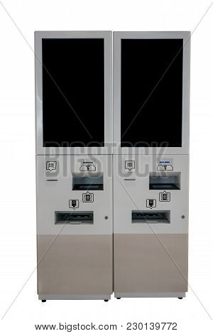 Tax Refund Kiosk In A Shopping Mall Isolated On White Background.