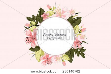 Beautiful Detailed Cherry Blossom Background. Vector Illustration.