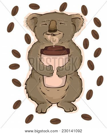 Vector Illustration, Koala Sitting On A Tree And Enjoying Fragrant Coffee