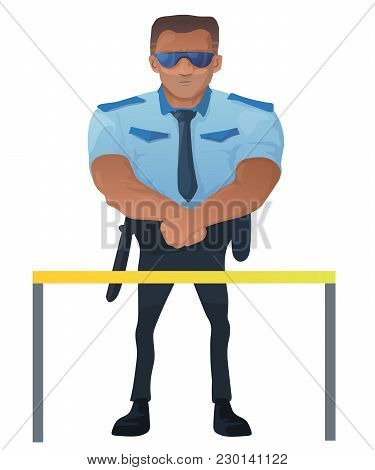 A Strong Security Guard Protects The Entrance. Vector Illustration. Cartoon Character