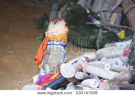 Wooden Lingams Offerings Princess Phra Nang Cave, Railay Peninsula, Krabi, Thailand