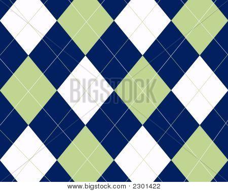 Blue White And Green Argyle