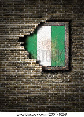 3d Rendering Of A Federal Republic Of Nigeria Flag Over A Rusty Metallic Plate Embedded On An Old Br