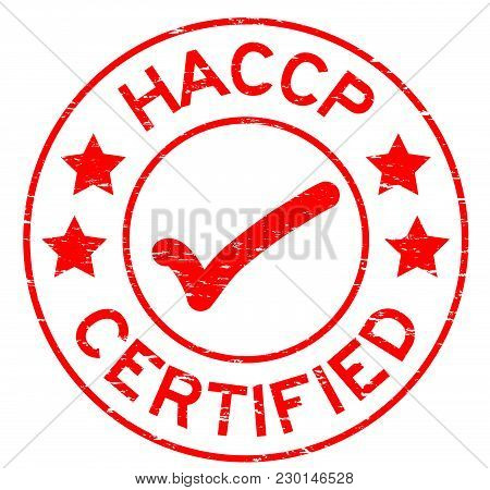 Grunge Red Haccp (hazard Analysis Critical Control Point ) Certified Round Rubber Stamp On White Bac
