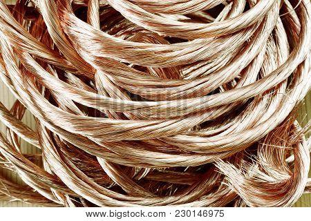 Big Pile Of Copper Secondary Raw Material Close Up. Copper Scrap Metal