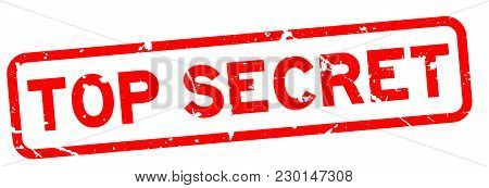 Grunge Red Top Secret Word Square Rubber Seal Stamp On White Background