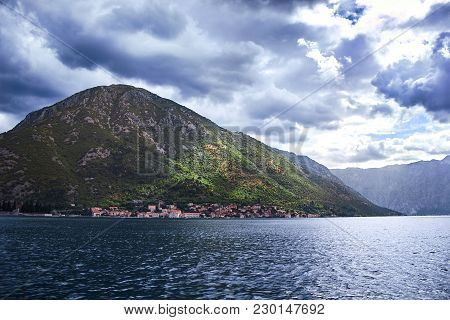 Picture Taken In Kotor, Montenegro. View Of The Mountains From The Water