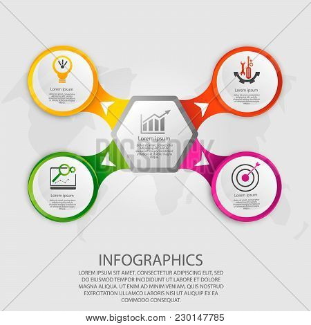 Modern Vector Illustration 3d. Template Hexagon And Circle Infographics With Five Elements And Arrow