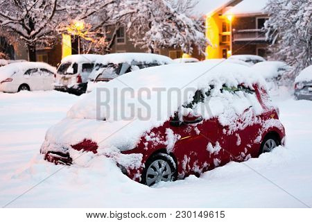 Car Under Heavy Snow After Snow Storm Winter Hurricane
