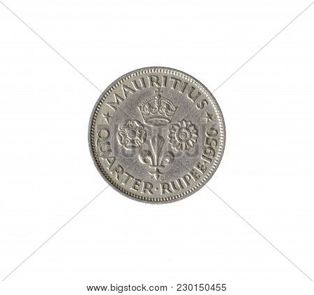Vintage Quarter Rupee Coin Made By Mauritius 1950