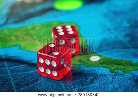 Red Playing Bones On The World Map Of Field Handmade Board Games
