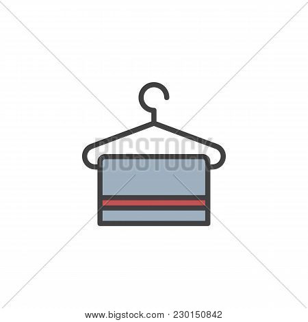 Hanger With Towel Filled Outline Icon, Line Vector Sign, Linear Colorful Pictogram Isolated On White