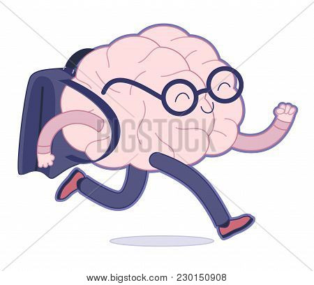 Back To School Flat Cartoon Vector Illustration - A Brain Wearing Glasses Running With A Schoolbag.