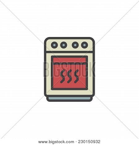 Oven Filled Outline Icon, Line Vector Sign, Linear Colorful Pictogram Isolated On White. Stove Symbo