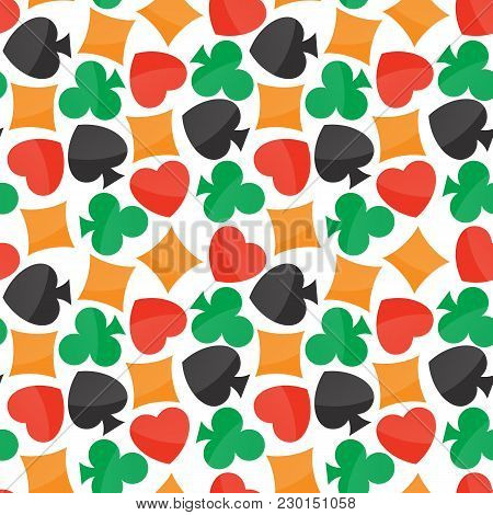 Seamless Pattern With Colorful Playing Card Icons, Vector Eps 10 Illustrations