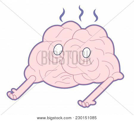 Am I Alive, Flat Cartoon Vector Illustration - A Damaged Melting Smoking Brain Lying On The Floor. P