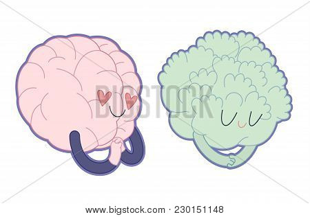 Love To Broccoli Flat Cartoon Vector Illustration - A Brain Falling In Love With Broccoli Girl. Part